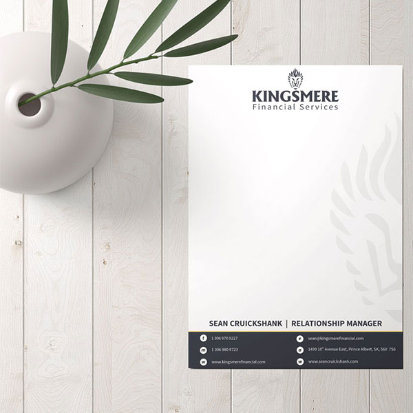 Letterhead design for Kingsmere Financial Recent Projects